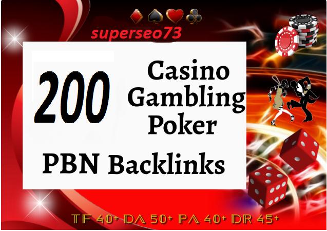 200 Homepage PBN Casino Poker Slot online Betting Agen Judi Bola Gambling Sport betting-SEO Package