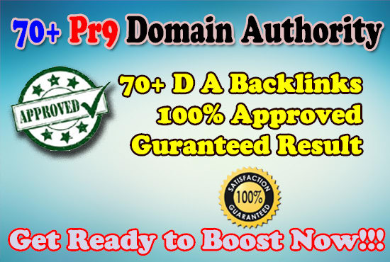 Get 70+ PR 9 DA domain authority Backlinks