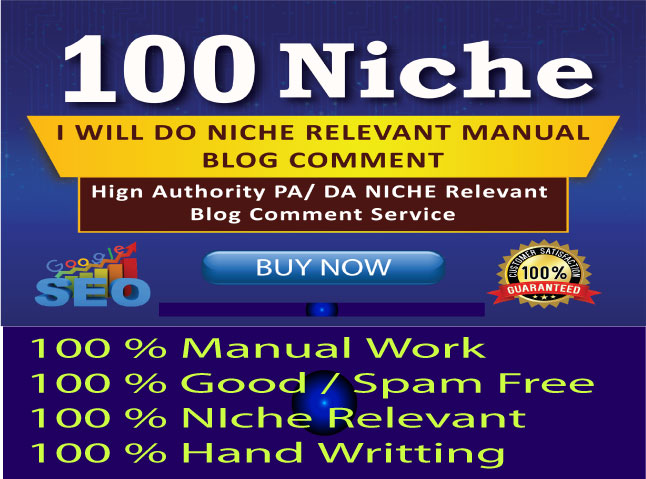 Manually Create HQ 100 Blog Comments Niche Relevant SEO backlinks