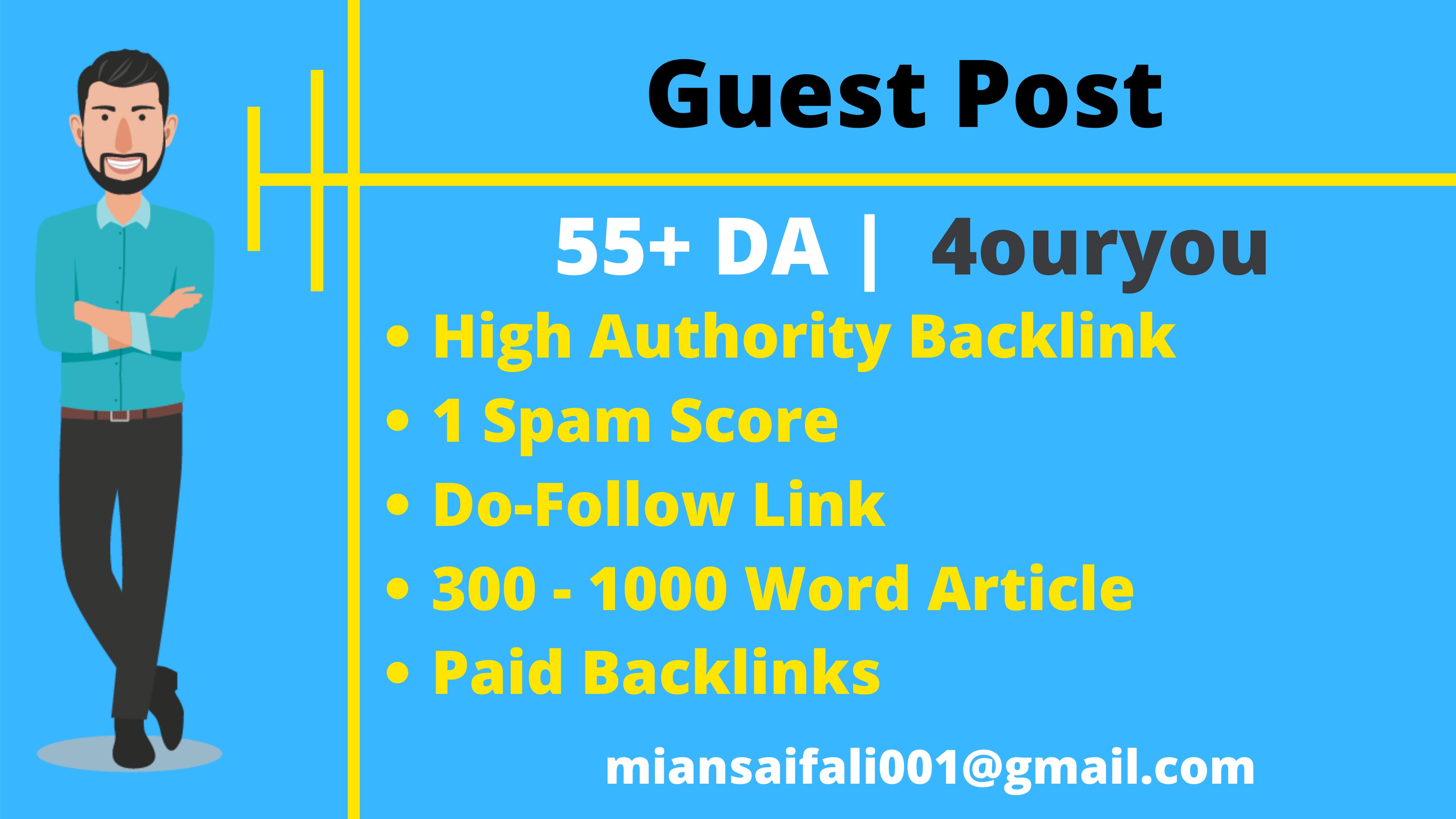 Guest Post 55 DA Dofollow Backlink SEO High Authority Website