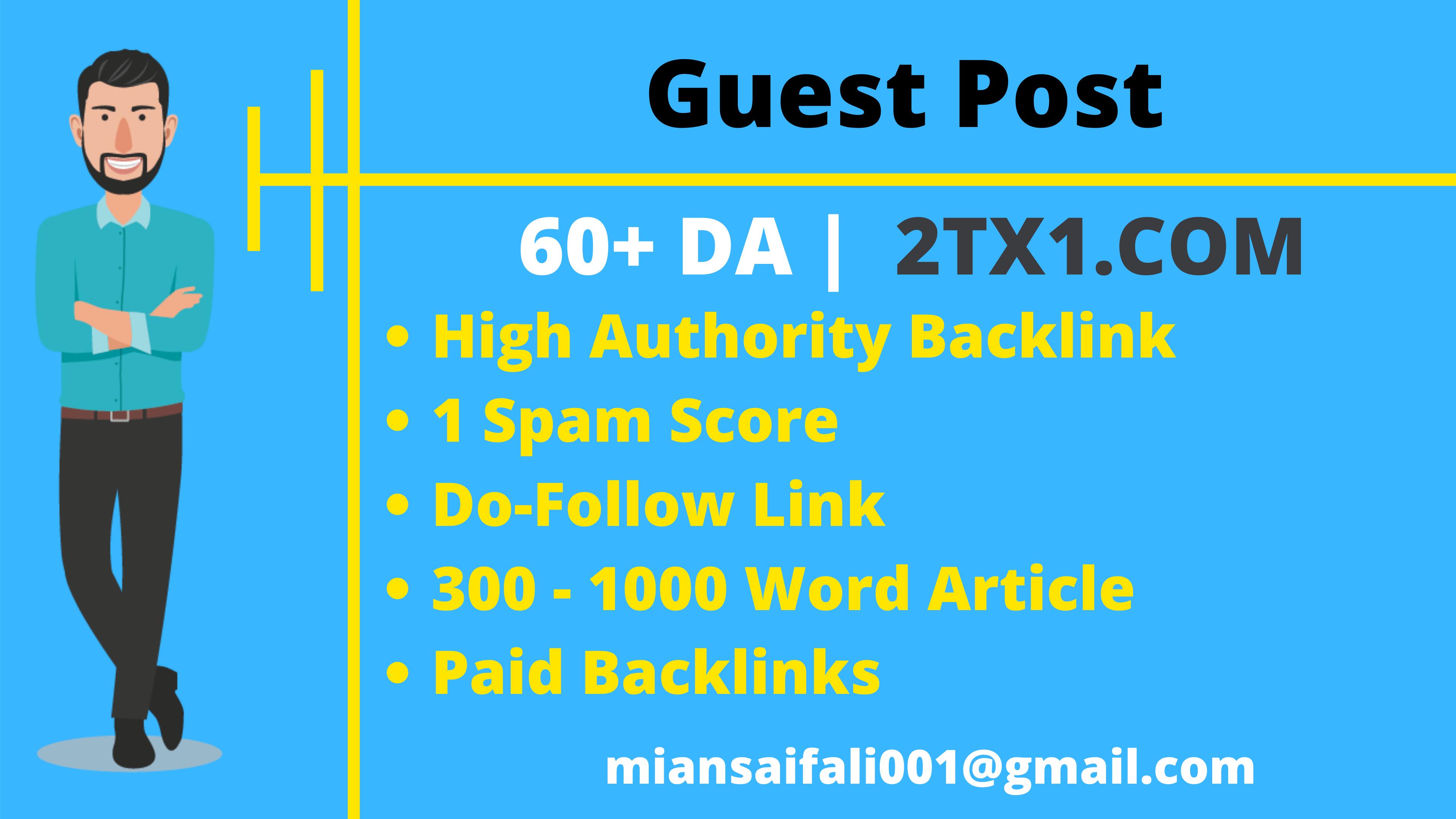Guest Post On 60+ DA Website Do-Follow Backlink