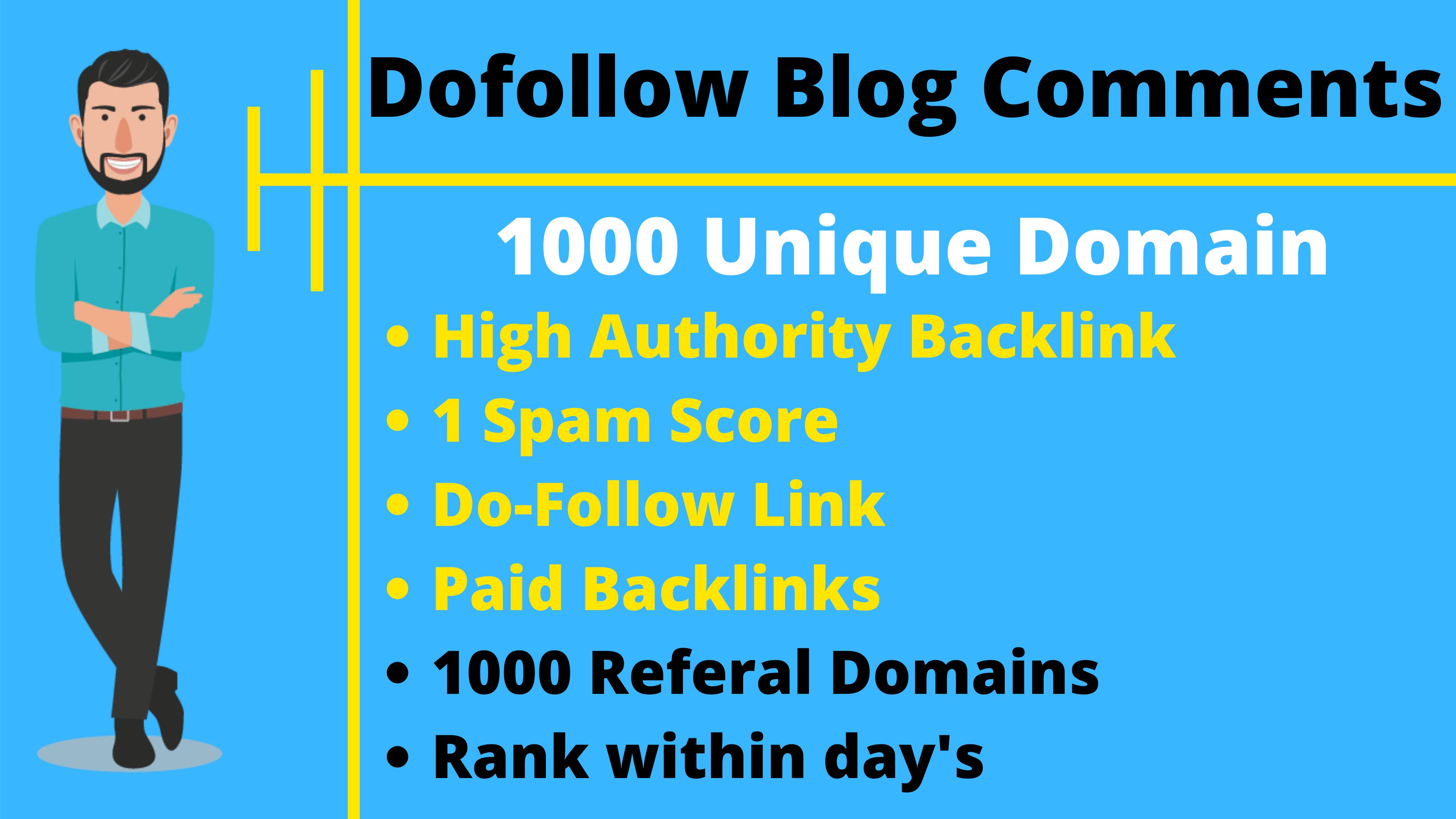 Manually create 1000 Unique Domain dofollow blog comments SEO backlinks