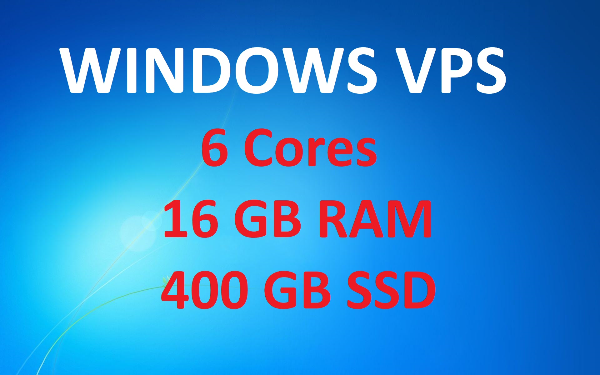 RDP Windows VPS with 400GB and 16GB RAM