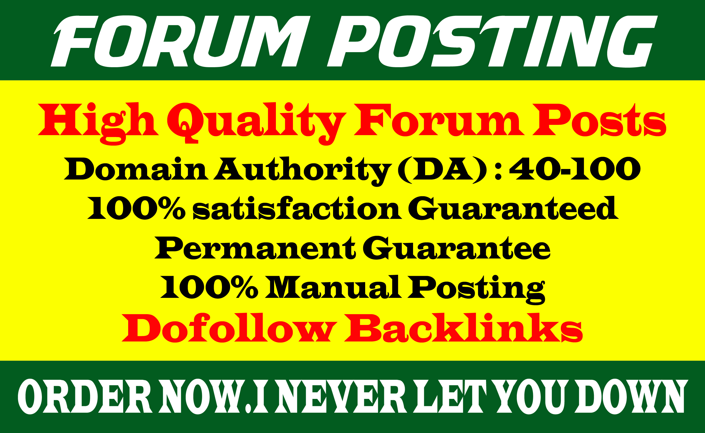 Provide 25 dof0llow forums posting backlinks on High DA Site