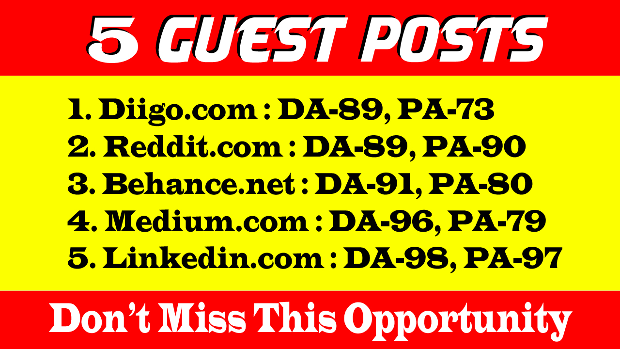 I will boost SEO ranking with 5 Guest Posts on 88 up DA sites