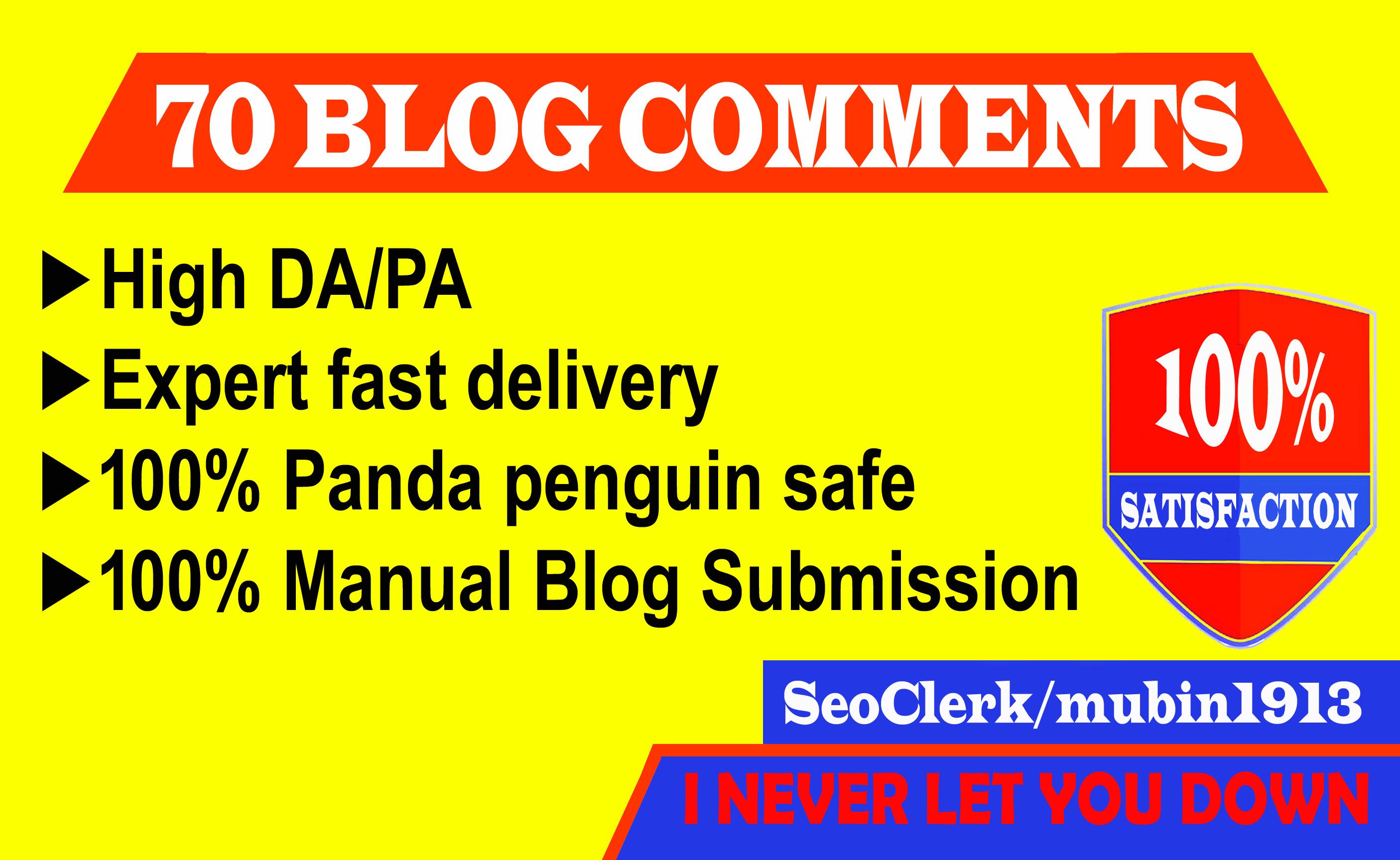 Create 70 Blog Comments on High DA Blog