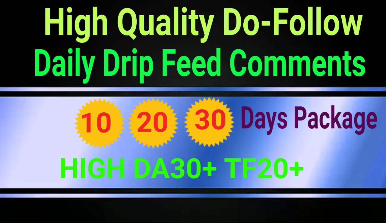 Create Daily Drip Feed 10 All Unique High Domain Authority Do-follow Comments Backlinks for 30 days
