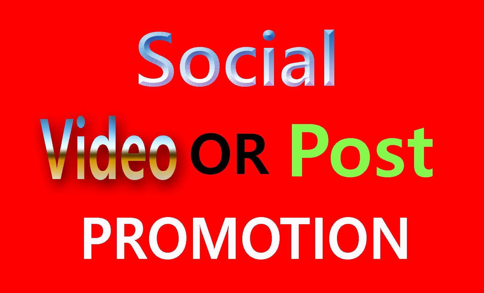 Social Media video Or Post Promotion Via Genuine Users