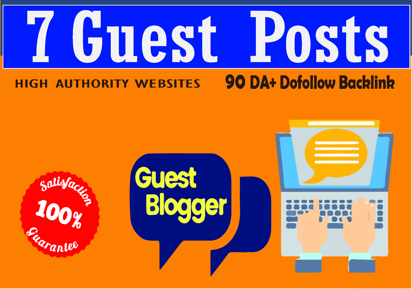 I will write and publish 7 guest posts on da 90 blog