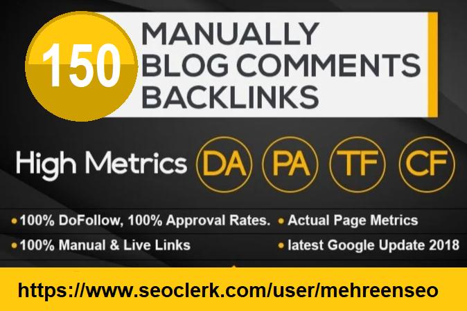 I will provide 150 seo blog comments do follow backlinks