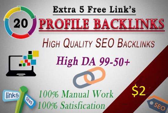 I will create 20 unique domain high Quality SEO Backlinks High Da Manual work Extra 5 free links