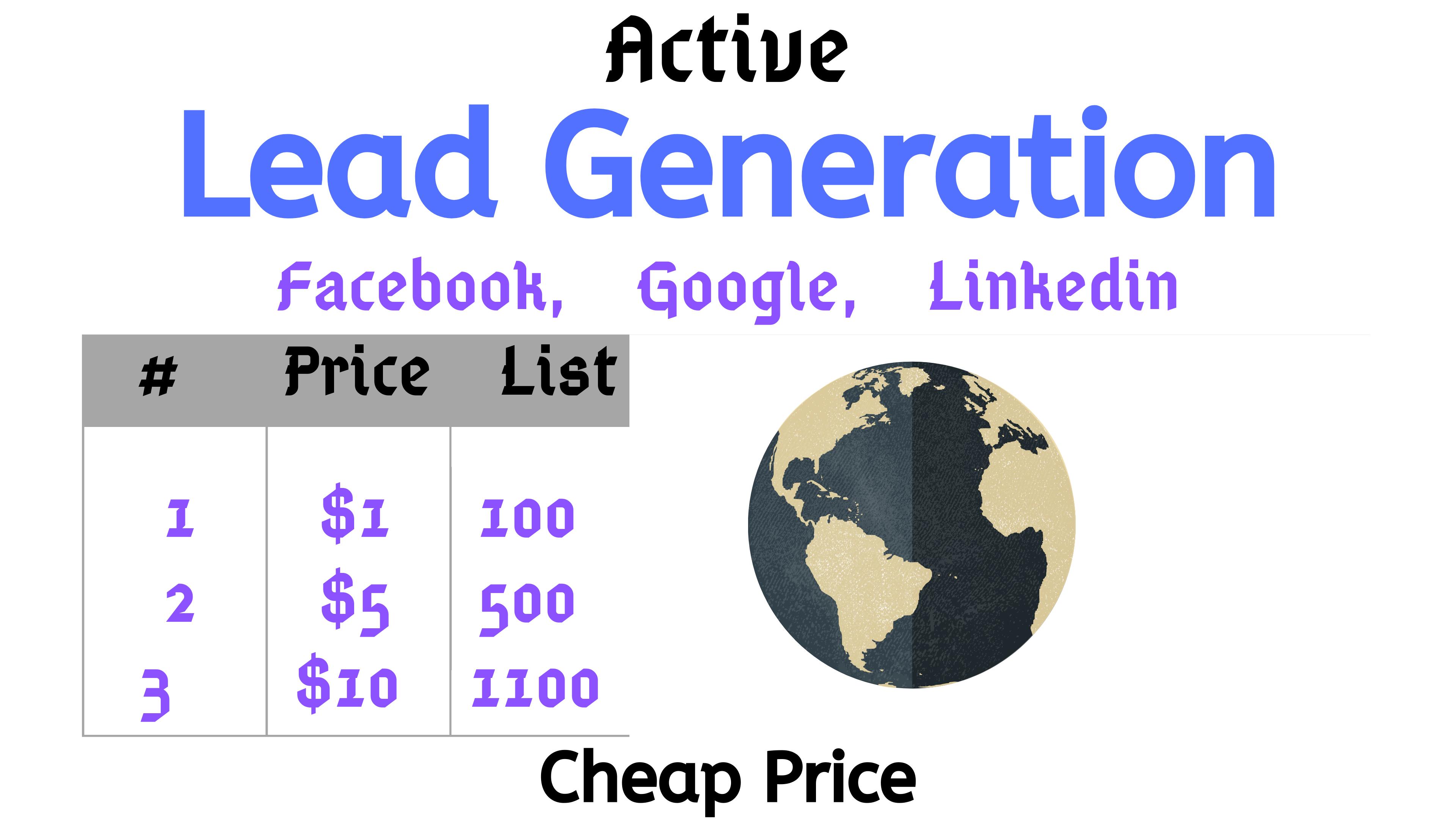 Google, Linkedin, Facebook Active Email Lead Generation