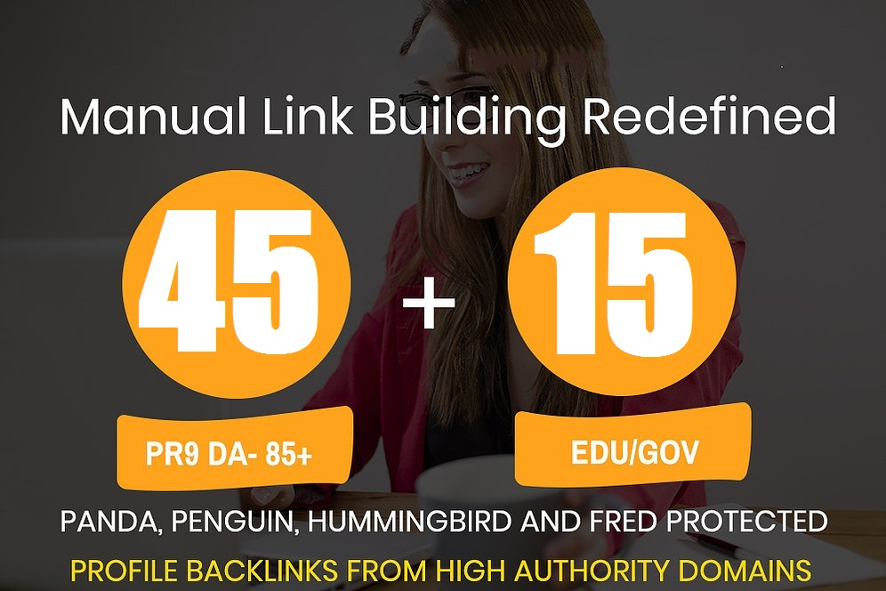 Get high quality 45 DA80+ Profile backlink and 15 EDU/GOV Profile backlink from unique domain