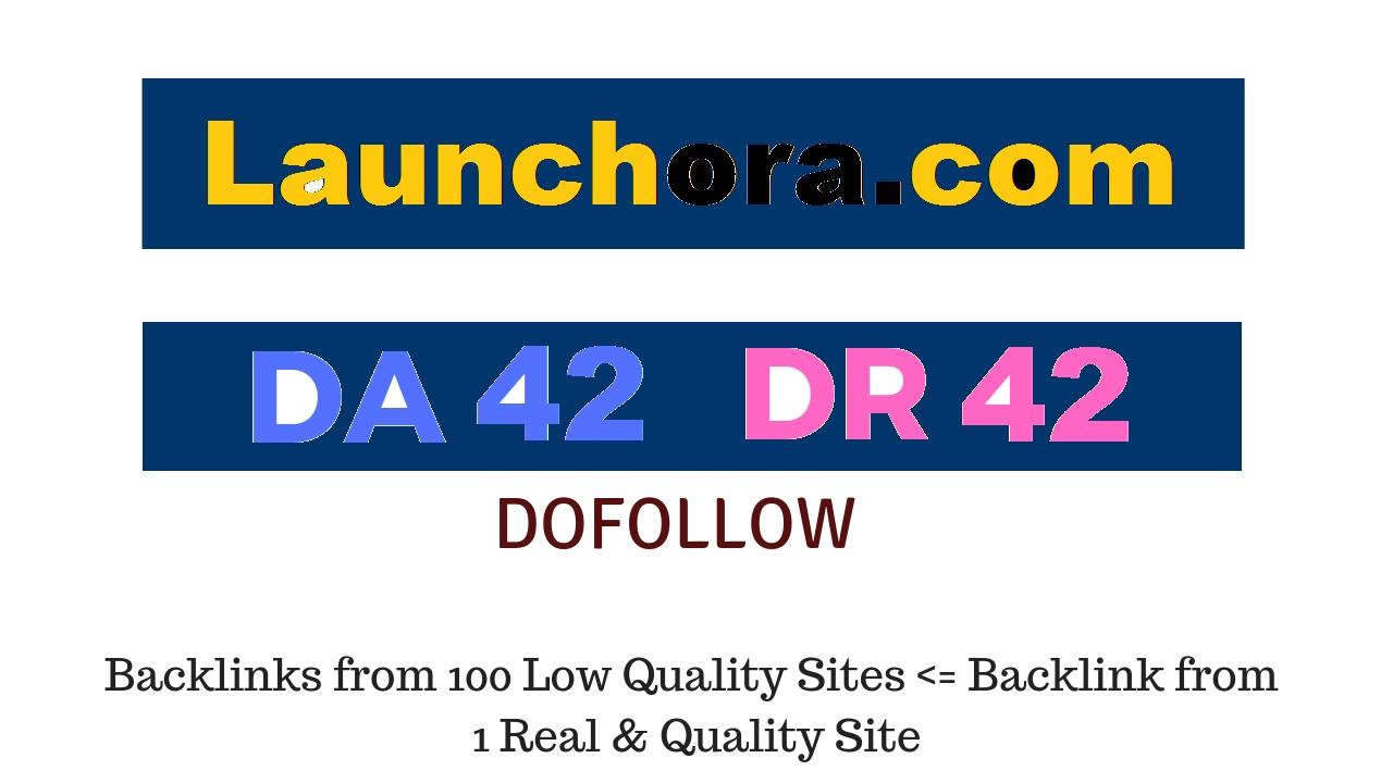 Publish a guest post on Launchora. com DA42 DR42