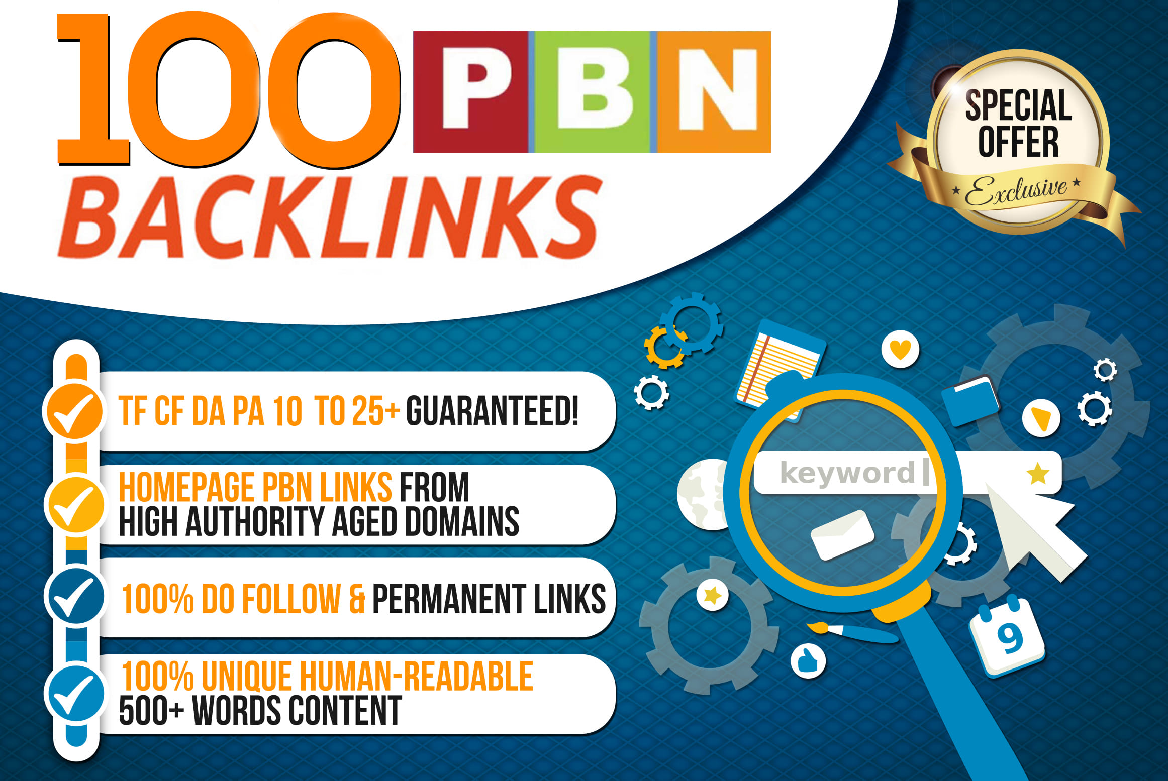Build 100 Permanent DA 50+ Homepage PBN Dofollow Backlink