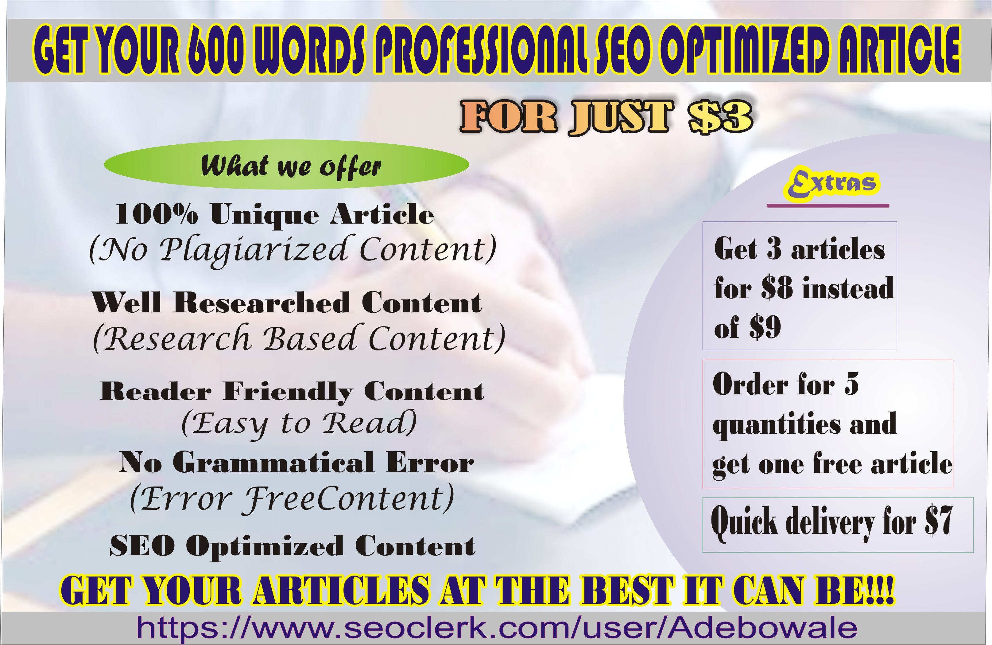 I will write a professional 600 words SEO optimized unique article/blogpost for your website/blog