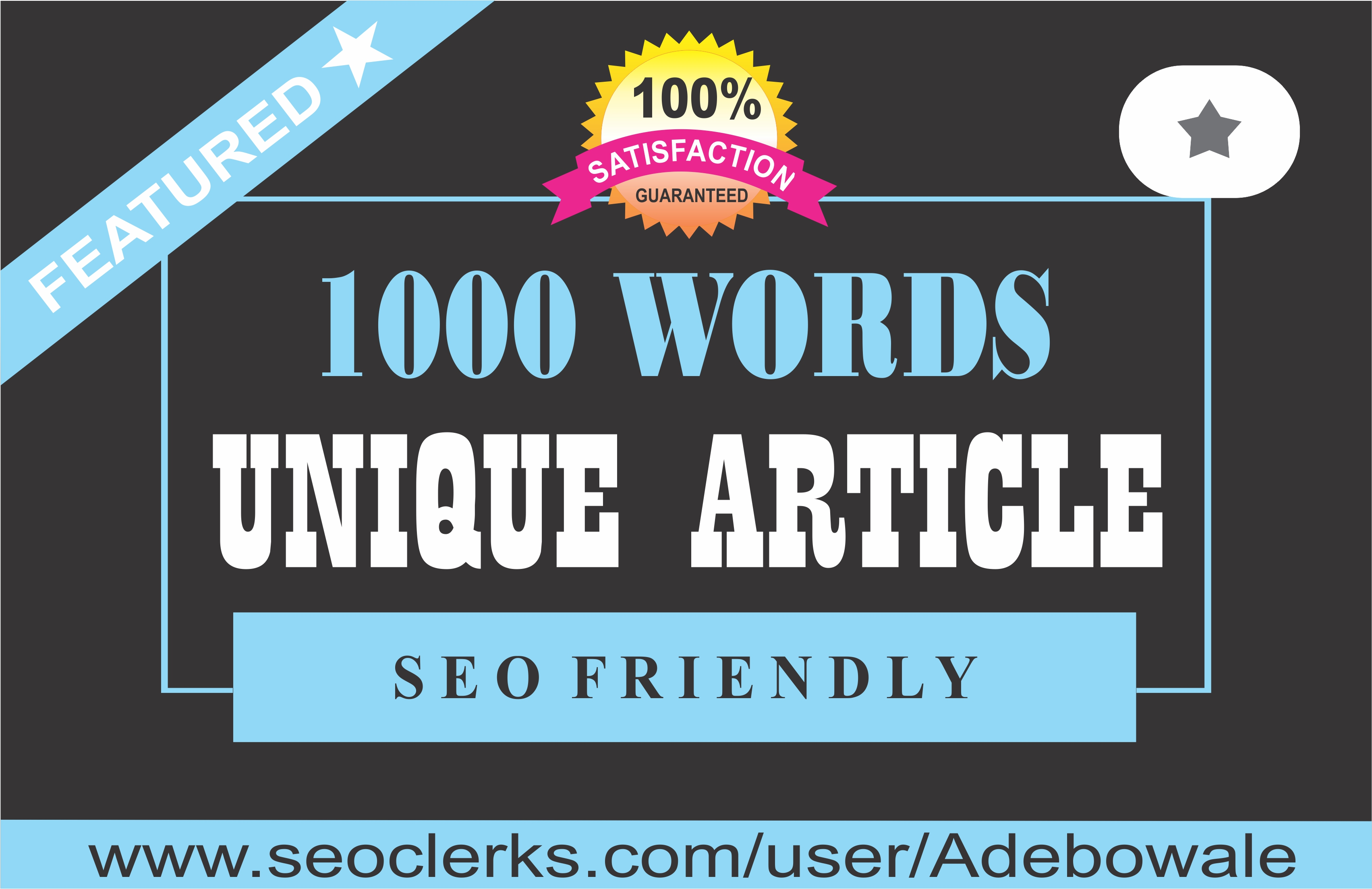 1000 words unique Article Writing / Content Writing for your website/blog