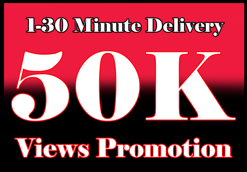 50000+ video views or 1000+ Likes or 20 comments Social media promotion 1 min. delivery
