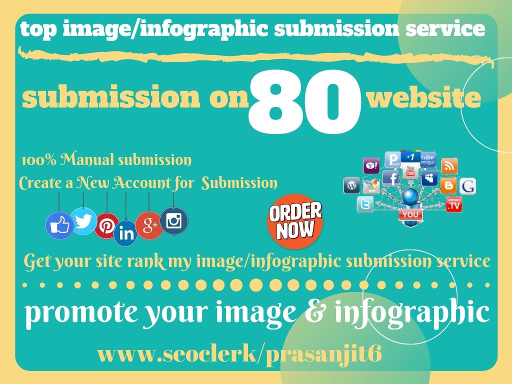 I will do infographic or image submission 80 high pr photo sharing sites