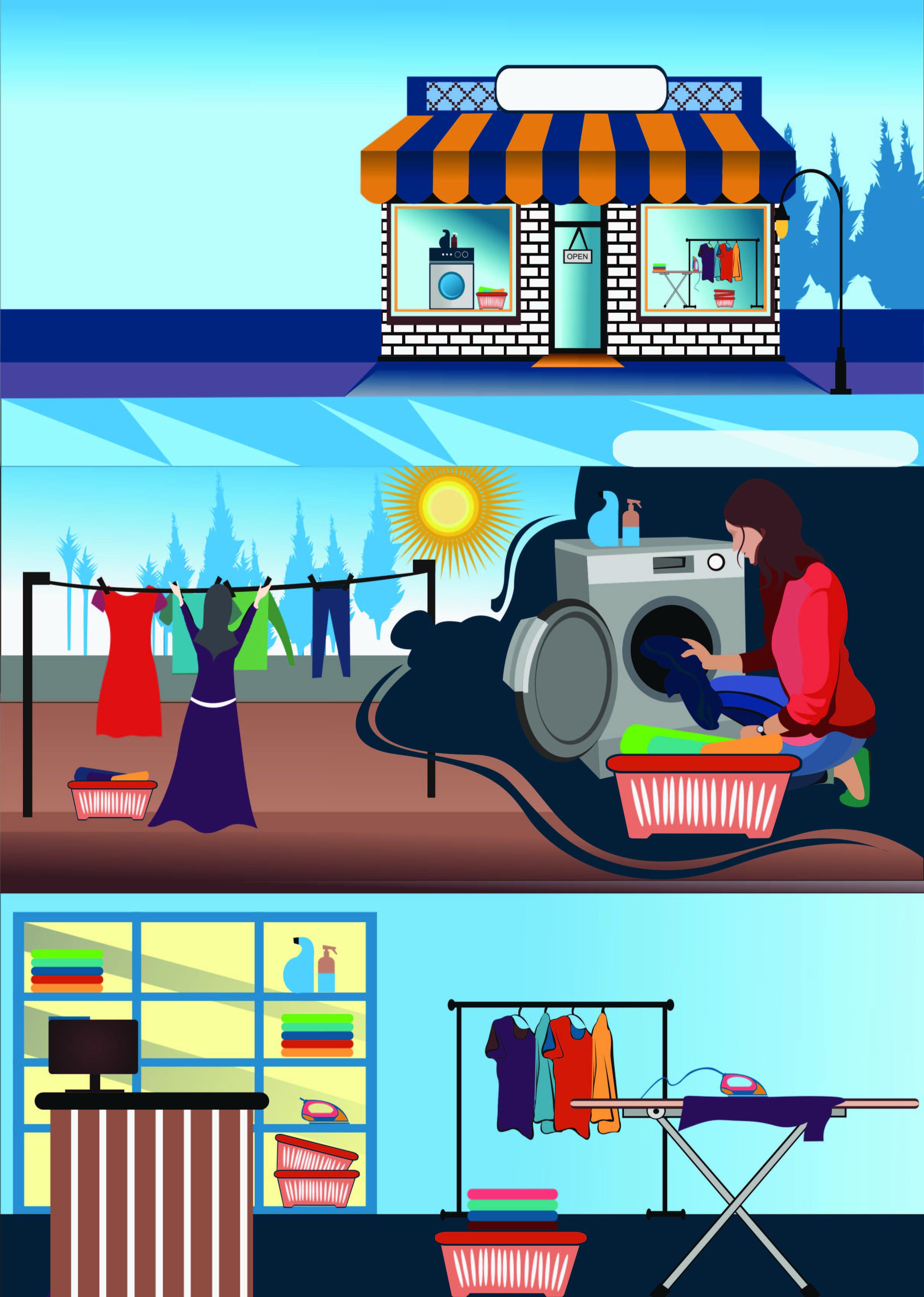 laundry illustrator poster.
