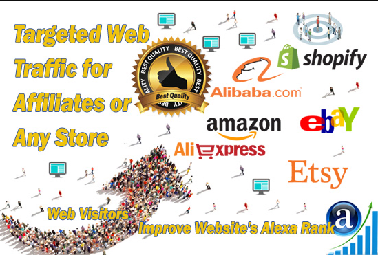 send traffic to affiliate links amqzon,  ebay,  aliexpress,  sh0pify etc