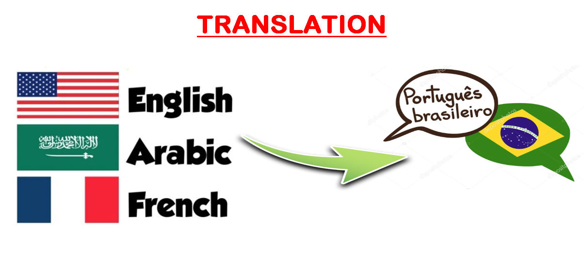 translate english,  arabic,  French to portuguese
