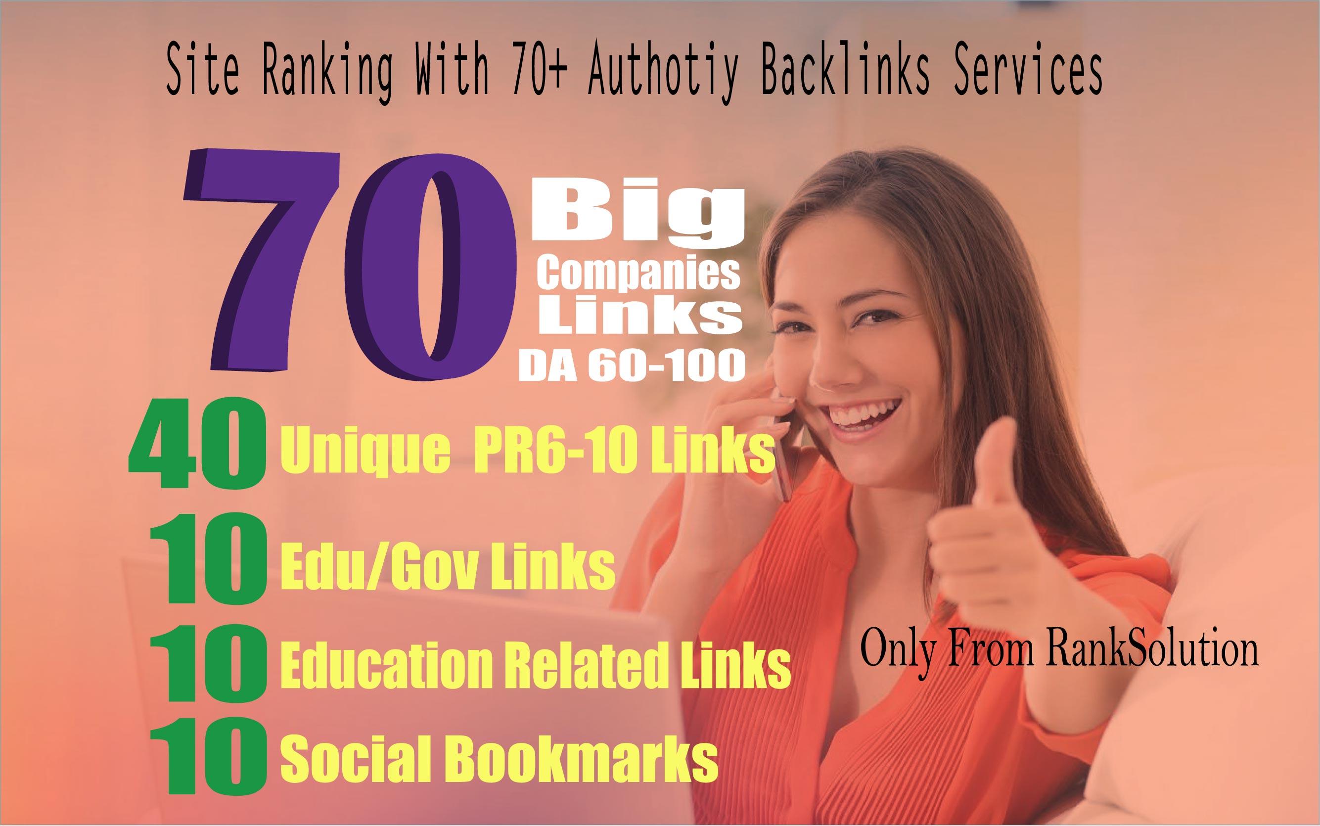 Create 70 Big Companies Links_ Link From 40 Unique Domain, 20 Gov/Edu, 10 SOCIAL Bookmark