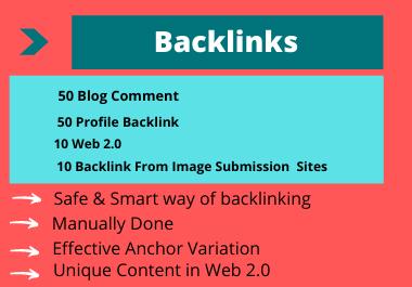Get High DA PA 50 Blog Comment + 50 Profile Backlink + 10 Web 2.0 + 10 Image Submission Backlink
