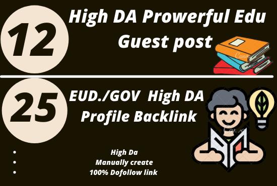 I will make 12 EDU Dofollow Guest post + 25 EDU/GOV Profile Backlink