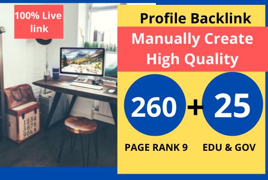 Create 260 High Quality pr9 + 20 edu/. gov profile backlinks- Skyrocket you website on google