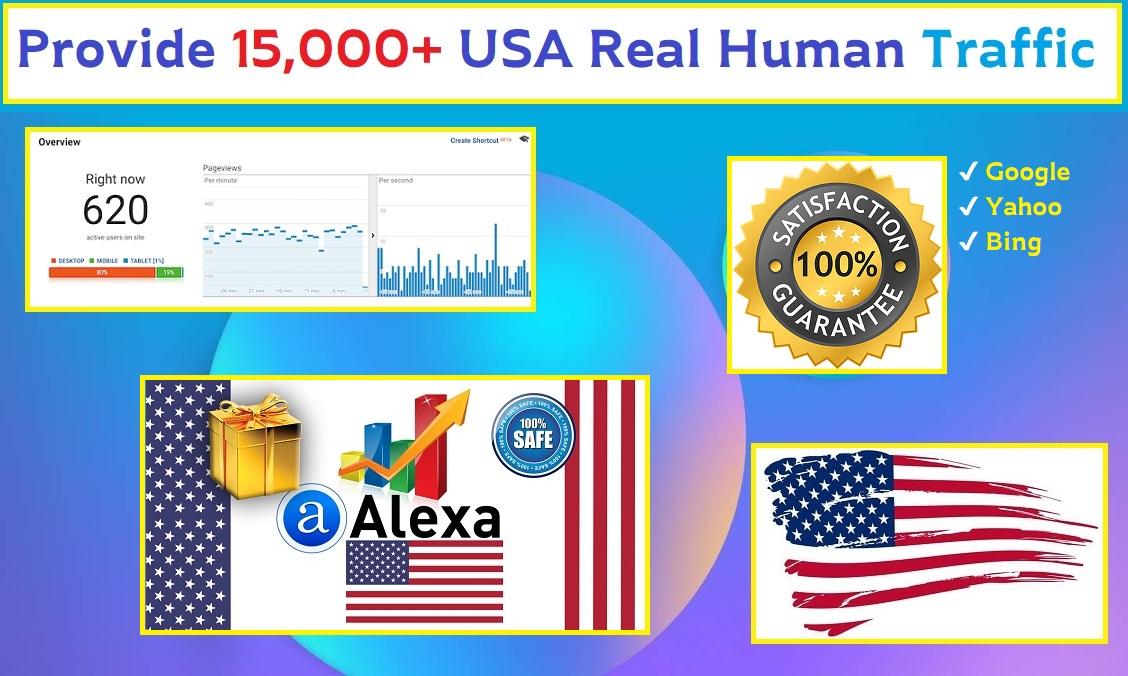 Provide 15,000+ USA Real Human Web Traffic.