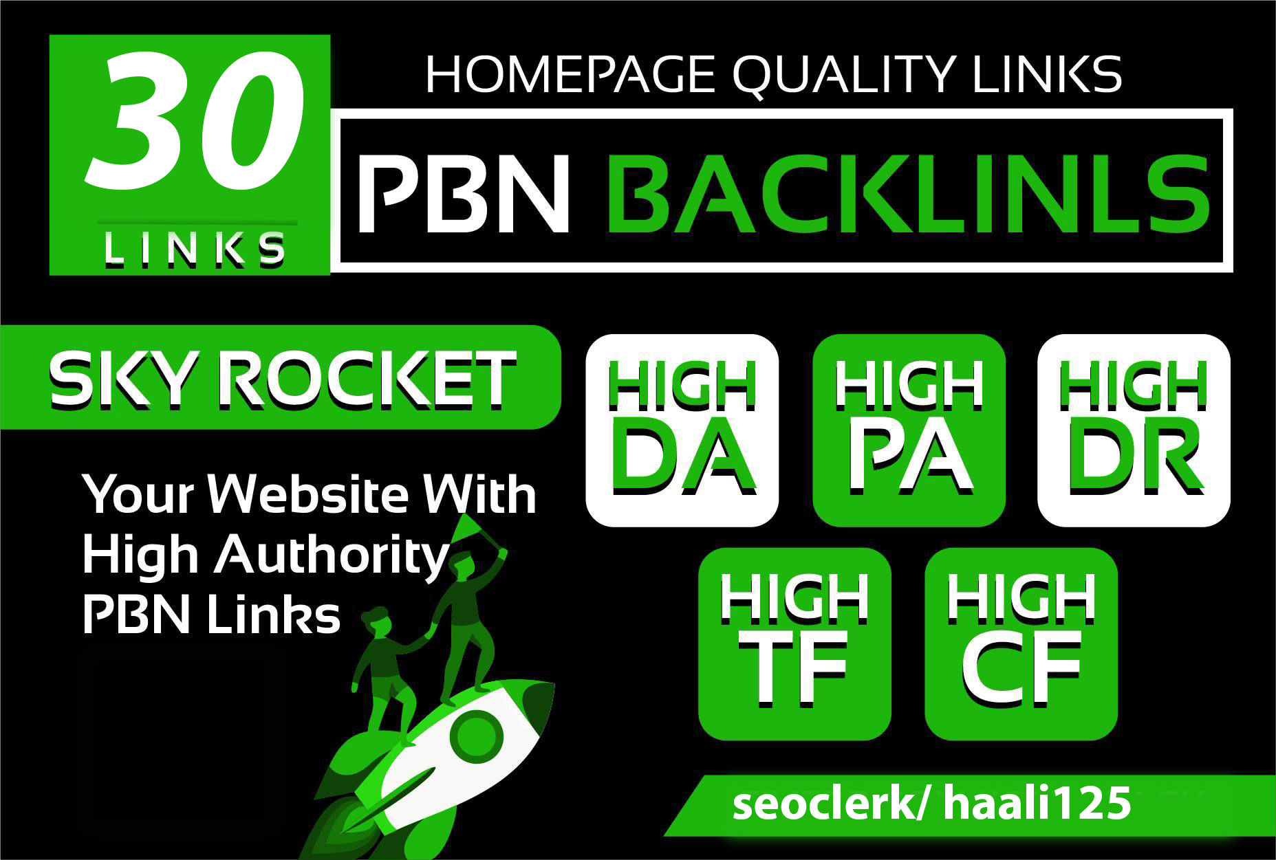 I will do 30 manual homepage permanent pbn backlink with da pa tf cf and DR