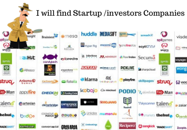 I will find list of target startup/investors companies