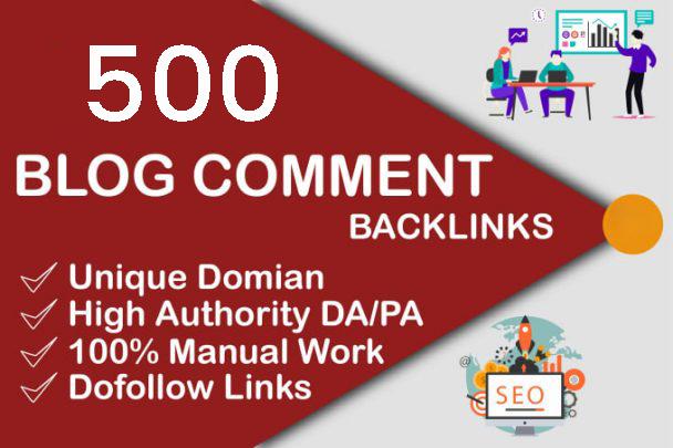 High authority 500 Dofollow blog comments SEO backlinks