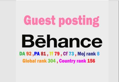 I will write & publish guest post backlinks on Behance. net