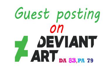 I will write & published a guest post backlink on Deviantart. com