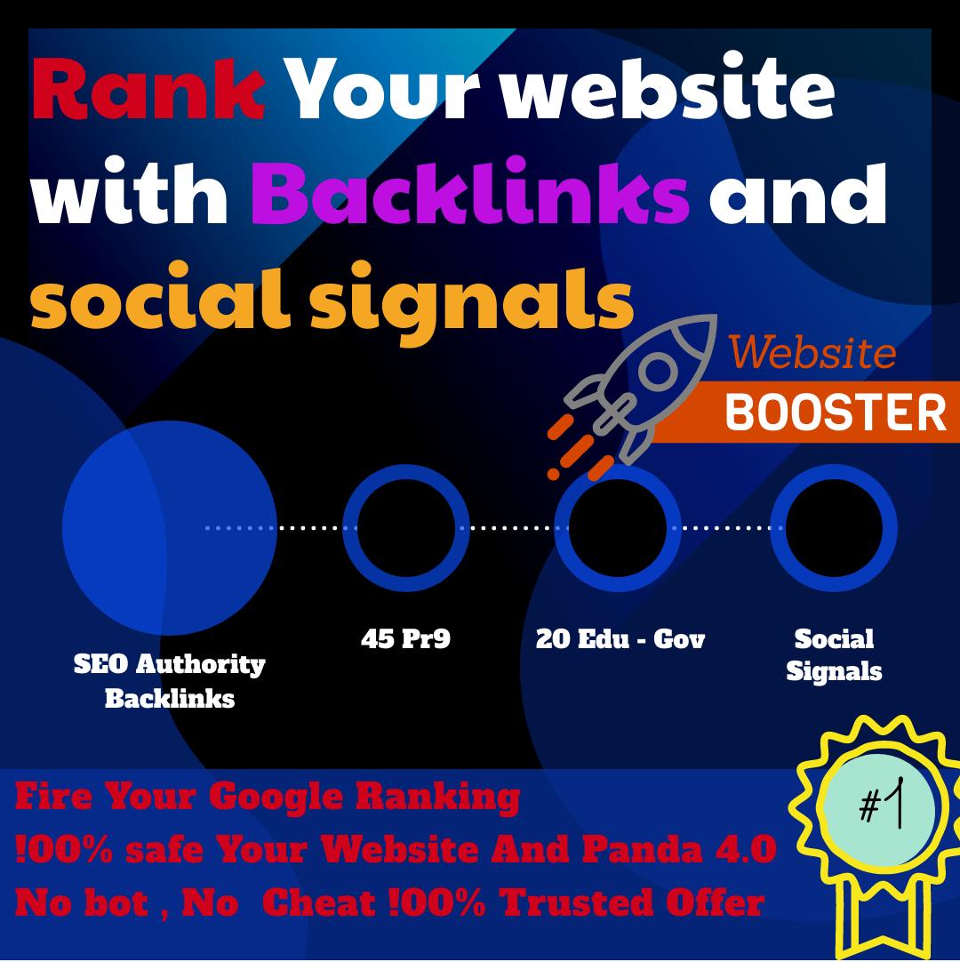 Super 45 Pr9 + 20 Edu - Gov High SEO Authority Backlinks with 10,000 Social Signals Fire Your Site