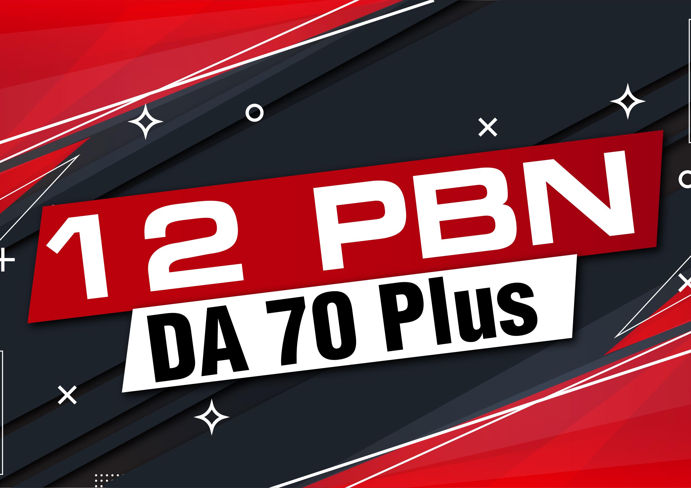 Make 12 Manual PBN Backlinks High DA 70 Plus Dofollow and indexed