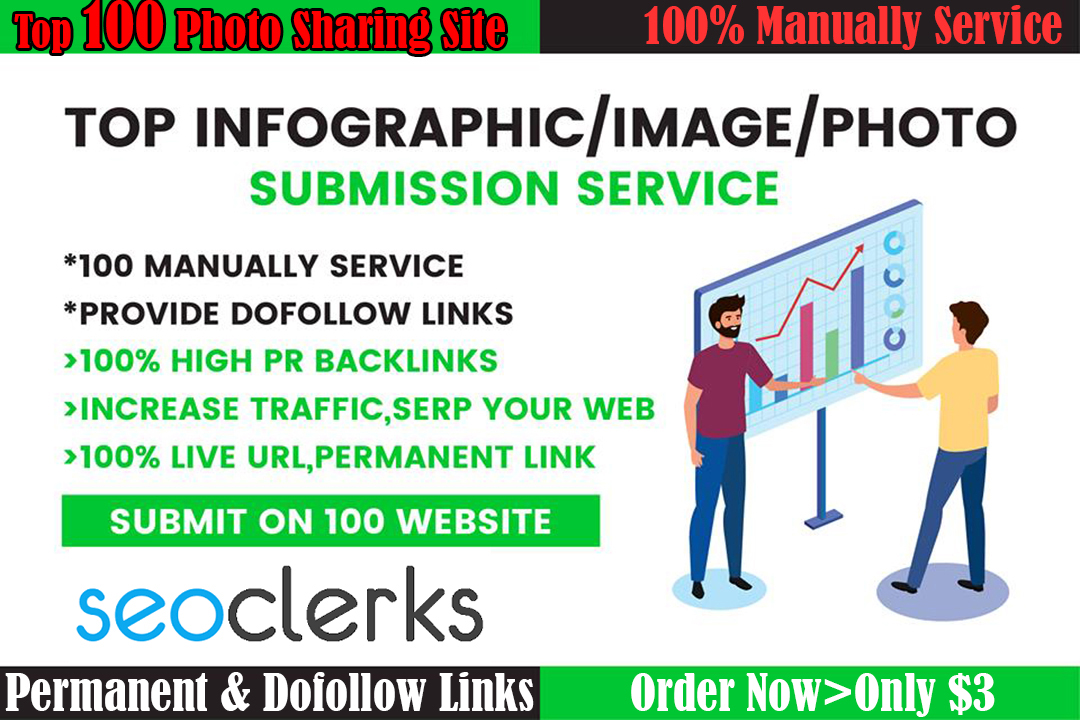 Manually Infographic/Image/Photo Submission on Top 30 Sharing Sites for Google Ranking