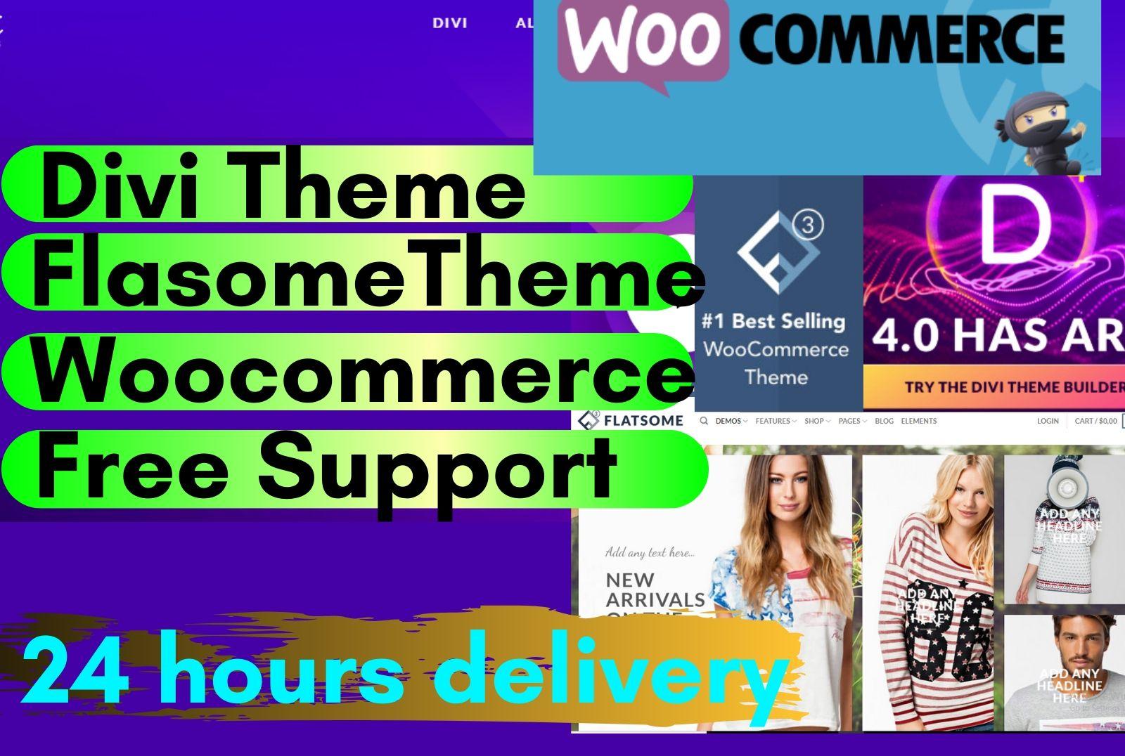 I will create wordpress woocommerce website using divi and flatsome theme