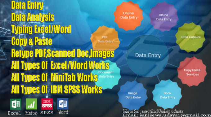 I will do excel,spss,minnitab data entry,Data Analysis,Convert pdf to word.Image content typing