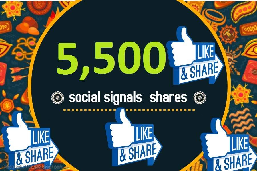 5,500 TOP social media Social Signals share Mix to boost visibility in Social Networks