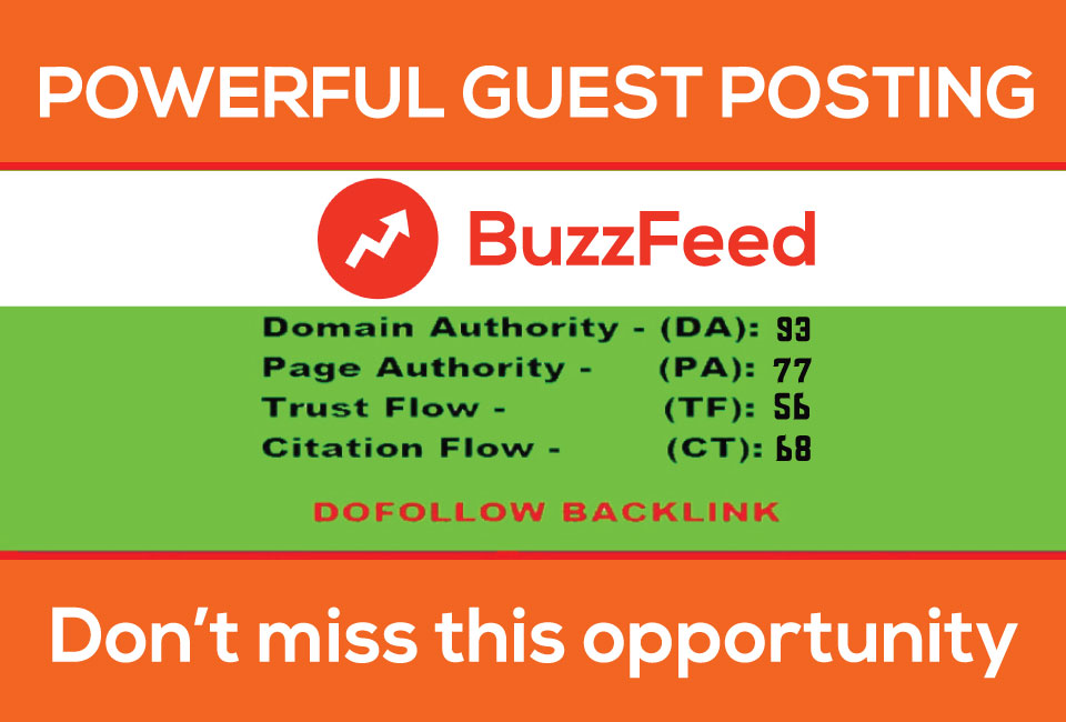 Write and publish guest post on BUZZFEED with permanent Dof0llow backlink DA93 PA77