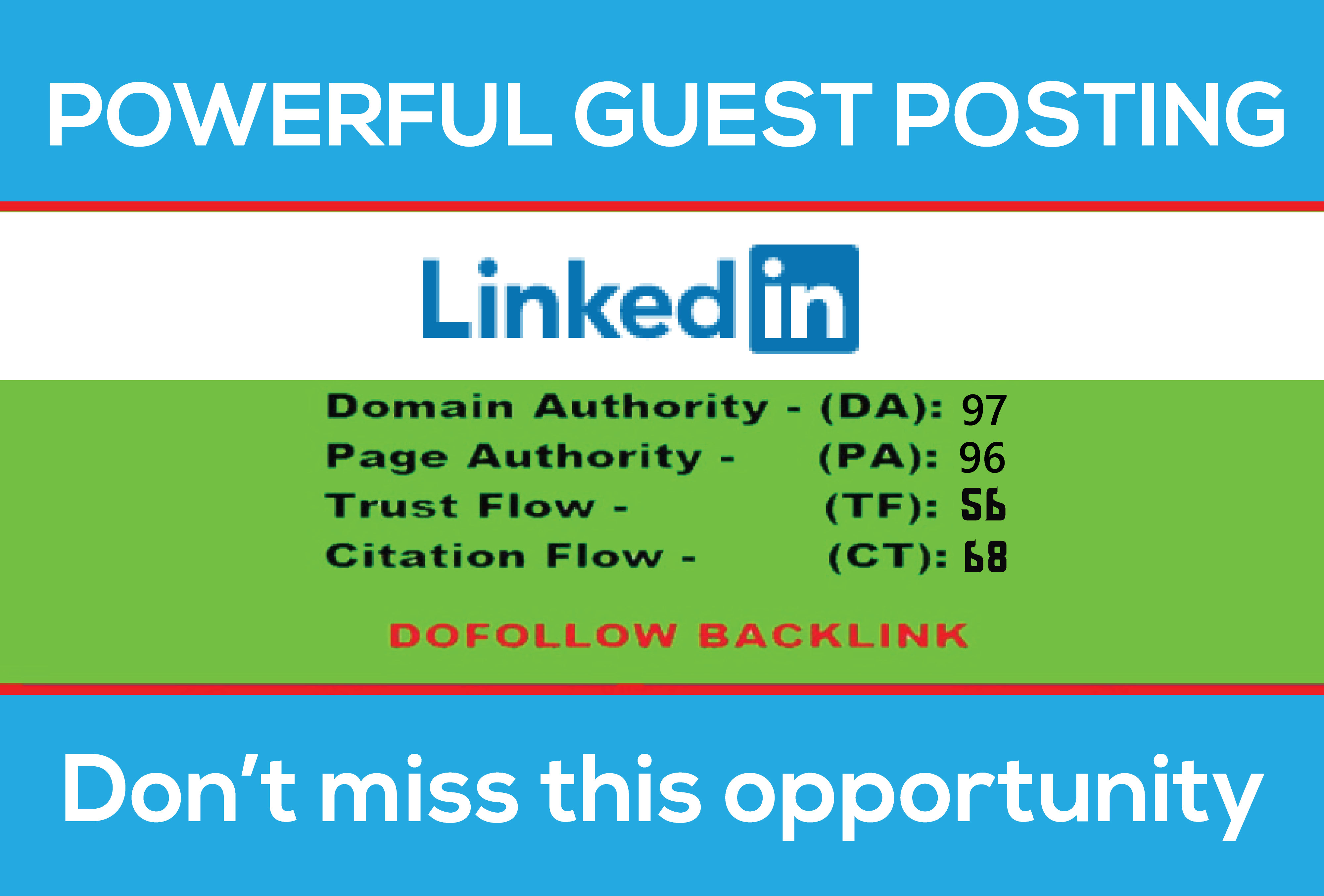 Write and publish guest post on Linkedin with permanent backlink DA97 PA96