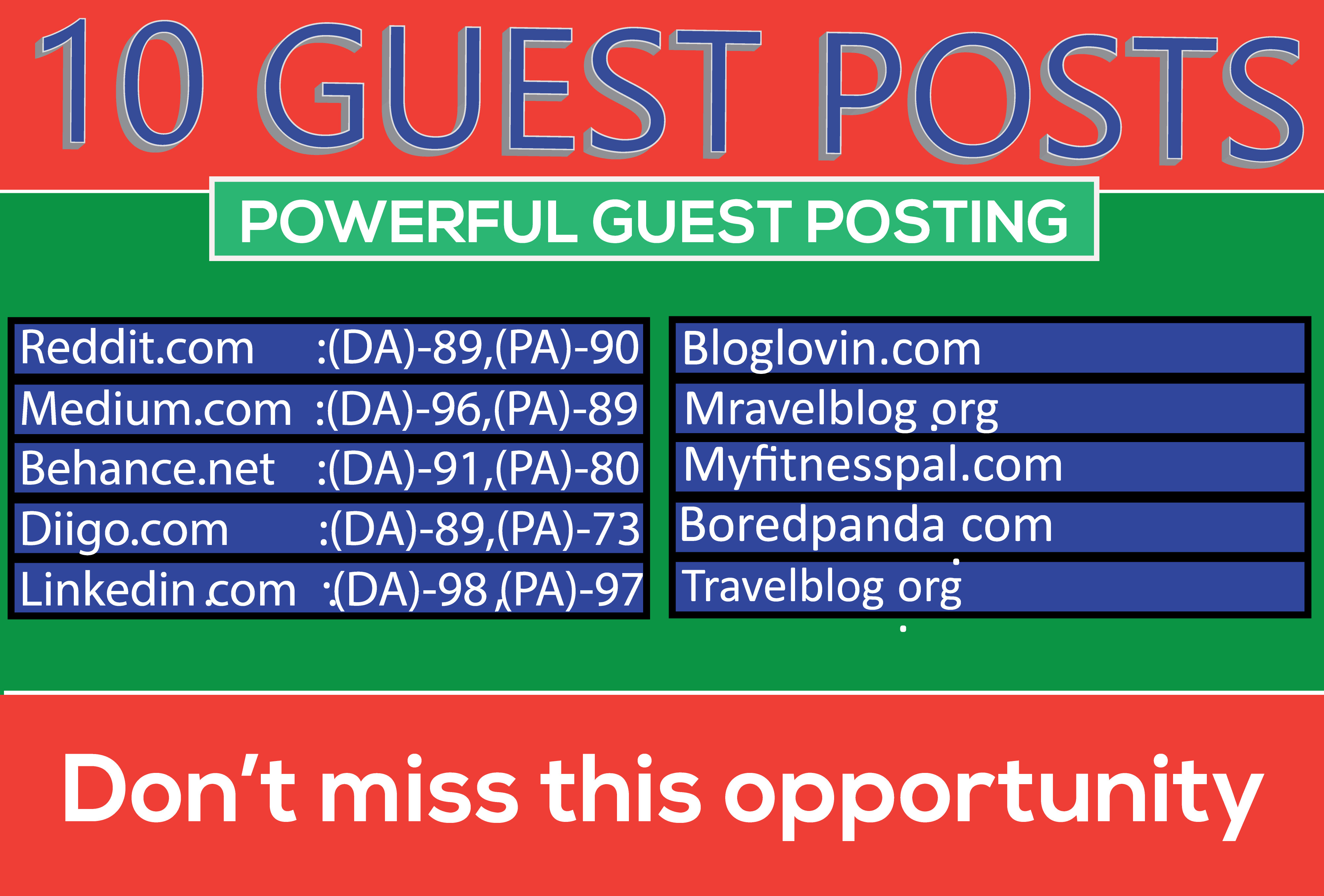 Write and publish 10 Guest Posts High DA websites Boost your SEO Ranking