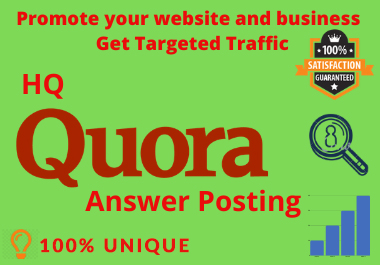 Promote your website in 5 HQ Quora Answers With Clickable Link