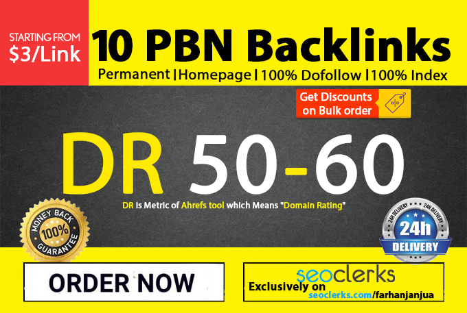 I will do 10 DR 50 to 60 permanent homepage PBN backlinks