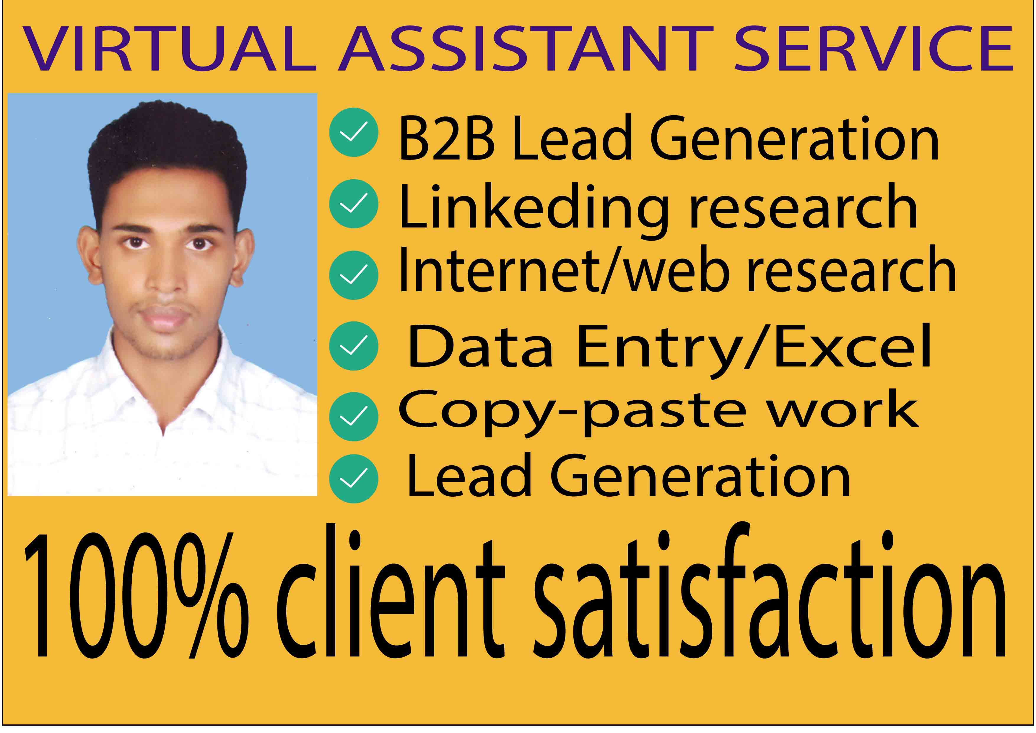 I will data entry,  lead generation,  copy paste,  web research and excel data entry