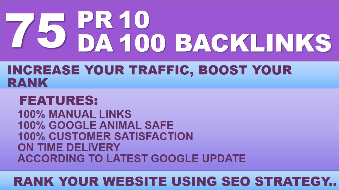 Built 75 High Authority Backlinks upto DA 95