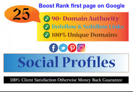 25 Profile Backlinks with 90+high DA,  PA sites to your website